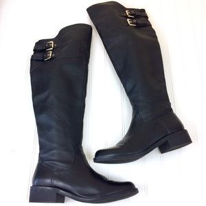 Steve Madden Obvious black leather knee boots